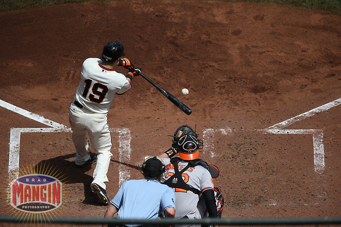 SAN FRANCISCO, CA - AUGUST 11:  Marco Scutaro of the San Francisco Giants bats during the game against the Baltimore Orioles at AT&T Park on Sunday, August 11, 2013 in San Francisco, California. Photo by Brad Mangin