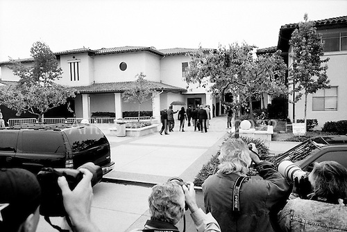 Santa Maria, California.USA.April 2005..Pop singer Michael Jackson arrives at the Santa Maria courthouse where he is being tried for child abuse. .Mr. Jackson, 46, denies all 10 charges against him, including child abuse. He faces up to 20 years in jail if convicted on all charges.