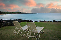 Beach chairs and sunrise. Near Hapuna Beach. Hawaii, Island