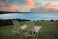 Beach chairs and sunrise. Near Hapuna Beach. Hawaii, Island
