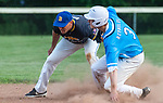 PROSPECT, CT 072231JS25 Torrington's Jake Reynolds slides into second with a double in front of the tag by Blasius Chevrolet's Steve Carosella (2) during the first round of the Tri-State Baseball Playoffs game against  Friday at Hotchkiss Field in Prospect. <br /> Jim Shannon Republican American