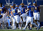 BROOKINGS, SD - MARCH 13: Malik Lofton #1 of the South Dakota State Jackrabbits celebrates an interception against the Youngstown State Penguins at Dana J. Dykhouse Stadium on March 13, 2021 in Brookings, South Dakota. (Photo by Dave Eggen/Inertia)
