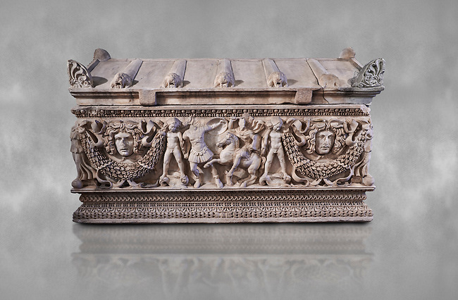 Side panel of a Roman relief garland  sculpted sarcophagus, style typical of Pamphylia, 3rd Century AD, Konya Archaeological Museum, Turkey.
