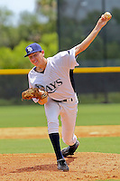 Matthew Spann (26) Pitcher for the GCL Rays delivers a pitch during a game against the GCL Red sox on July 15th, 2010 at Charlotte Sports Park in Port Charlotte Florida. The GCL Rays are the the Gulf Coast Rookie League affiliate of the Tampa Bay Rays.Spann was selected by the Rays in the 25th round (761 overall) in the 2010 MLB First Year Player Draft. Photo by: Mark LoMoglio/Four Seam Images
