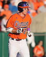 Shortstop Jason Stolz (2) of the Clemson Tigers in a game against the University of Alabama-Birmingham on Feb. 17, 2012, at Doug Kingsmore Stadium in Clemson, South Carolina. UAB won 2-1. (Tom Priddy/Four Seam Images)