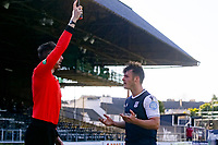 3rd April 2021; Dens Park, Dundee, Scotland; Scottish FA Cup Football, Dundee FC versus St Johnstone; Danny Mullen of Dundee remonstrates with the assistant referee after realising his goal had been disallowed
