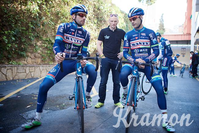 Antoine Demoitié (BEL/Wanty-Groupe Gobert) & Kenny De Haes (BEL/Wanty-Groupe Gobert) before riding out <br /> <br /> Pro Cycling Team Wanty-Groupe Gobert <br /> <br /> Pre-season Training Camp january 2016