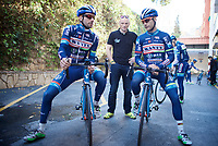 Antoine Demoitié (BEL/Wanty-Groupe Gobert) & Kenny De Haes (BEL/Wanty-Groupe Gobert) before riding out <br /> <br /> Pro Cycling Team Wanty-Groupe Gobert <br /> <br /> Pre-season Training Camp january 2016