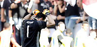 Calcio, Serie A: Juventus vs Crotone. Torino, Juventus Stadium, 21 maggio 2017.<br /> Juventus' goalkeeper Gianluigi Buffon celebrates the victory of the sixth consecutive Scudetto at the end of the Italian Serie A football match between Juventus and Crotone at Turin's Juventus Stadium, 21 May 2017. Juventus defeated Crotone 3-0.<br /> UPDATE IMAGES PRESS/Isabella Bonotto