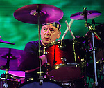 Drummer Neil Peart of Rush performs Friday Aug.19,2002 at the Cynthia Woods Mitchell Pavillion in The Woodlands,Texas.