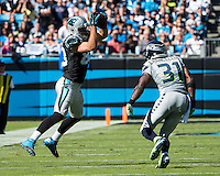 Charlotte, NC - October 26, 2014: The Carolina Panthers lost to the Seattle Seahawks 13-9 in a NFL game at Bank of America Stadium.