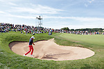 Frenchman Gregory Bourdy splashes out of the sand on the 10th hole during the final round of the ISPS Handa Wales Open 2013 at the Celtic Manor Resort.<br /> <br /> 01.09.13<br /> <br /> ©Steve Pope-Sportingwales