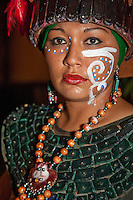 Woman in Traditional Pre-Hispanic Mayan Costume, Playa del Carmen, Riviera Maya, Yucatan, Mexico.