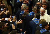 Pope Francis greets the faithful at the end of an audience with members of the confederation of the Italian cooperatives in the Paul VI Hall at the Vatican, on 16 march, 2019.<br /> UPDATE IMAGES PRESS/Isabella Bonotto<br /> <br /> STRICTLY ONLY FOR EDITORIAL USE
