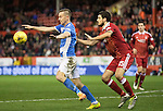 Aberdeen v St Johnstone…10.12.16     Pittodrie    SPFL<br />Steven MacLean holds off Anthony O'Connor<br />Picture by Graeme Hart.<br />Copyright Perthshire Picture Agency<br />Tel: 01738 623350  Mobile: 07990 594431