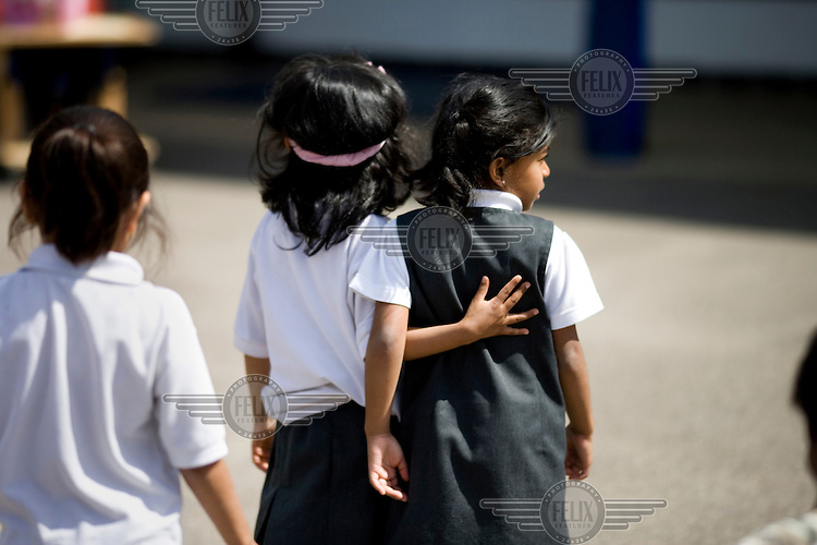 Pupils in the playground at the Krishna-Avanti primary school in Harrow, North London, the first state-funded Hindu faith school in Britain..