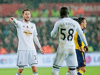 Sunday 9th November 2014<br /> Pictured:  ( L-R )  Gylfi Sigurosson of Swansea City shouts instructions at Modou Barrow of Swansea <br /> Re: Barclays Premier League Swansea City v Arsenal at the Liberty Stadium, Swansea, Wales,UK