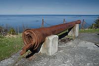 Cannon at WWII Battle Mount, Kodiak Island, Alaska, US