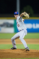Kingsport Mets relief pitcher Trent Johnson (21) in action against the Burlington Royals at Burlington Athletic Stadium on July 18, 2016 in Burlington, North Carolina.  The Royals defeated the Mets 8-2.  (Brian Westerholt/Four Seam Images)