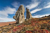 Granite tors on the autumn tundra in the Bering Land Bridge National Preserve, Seward Peninsula, Alaska.