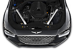 Car Stock 2020 Genesis G70 Prestige 4 Door Sedan Engine  high angle detail view