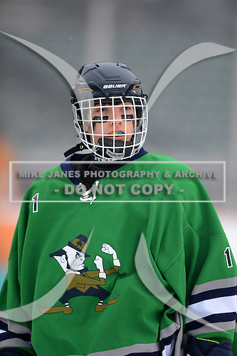 Notre Dame Fighting Irish of Batavia Ryan Antinore (1) during warmups before a varsity ice hockey game against the Brockport Blue Devils during the Section V Rivalry portion of the Frozen Frontier outdoor hockey event at Frontier Field on December 22, 2013 in Rochester, New York.  (Copyright Mike Janes Photography)