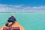 Checking the depth off the coast of Kiritimati in Kiribati