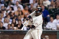 21 April 2009: San Francisco Giants' Pablo Sandoval hits the ball during the San Francisco Giants' 8-3 win  over the San Diego Padres at AT&T Park in San Francisco, CA.