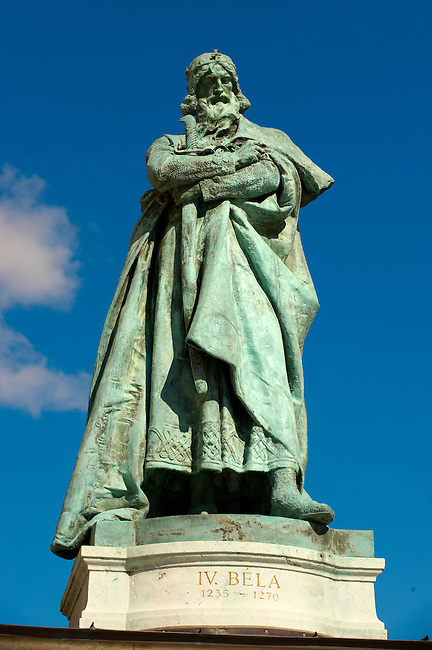 Statue of King Bela 4th - H?sök tere, ( Heroes Square ) Budapest Hungary