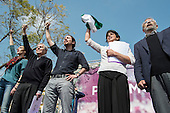 Podemos Secretary General Pablo Iglesias,  presidential candidate Teresa Rodriguez and local candidates Carlos Villarejo and Felix Gil at a rally in Malaga a week before Andalusian parliamentary elections in which the grassroots party is hoping to make significant gains.