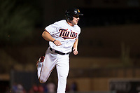 Salt River Rafters right fielder Luke Raley (53), of the Minnesota Twins organization, runs to third base during an Arizona Fall League game against the Scottsdale Scorpions at Salt River Fields at Talking Stick on October 11, 2018 in Scottsdale, Arizona. Salt River defeated Scottsdale 7-6. (Zachary Lucy/Four Seam Images)
