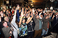 Pictured: People cheer on seconds before the live announcement at the Hyst in Swansea, Wales, UK. Thursday 07 December 2017<br />Re: Coventry has been chosen to be the UK's City of Culture for 2021.<br />The other places in the running for the title were Swansea, Paisley, Stoke-on-Trent and Sunderland.