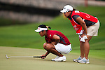 CHON BURI, THAILAND - FEBRUARY 17:  Numa Gulyanamitta of India lines up a putt on the 8th hole during day two of the LPGA Thailand at Siam Country Club on February 17, 2012 in Chon Buri, Thailand.  Photo by Victor Fraile / The Power of Sport Images