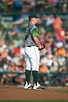 Fort Wayne TinCaps starting pitcher Ryan Weathers (25) looks to his catcher for the sign against the West Michigan Whitecaps at Parkview Field on August 5, 2019 in Fort Wayne, Indiana. The TinCaps defeated the Whitecaps 9-3. (Brian Westerholt/Four Seam Images)