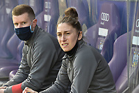 Head coach Audrey Demoustier of Woluwe pictured during a female soccer game between RSC Anderlecht Dames and White Star Woluwe on the 18 th and last matchday before the play offs of the 2020 - 2021 season of Belgian Womens Super League , saturday 27 th of March 2021  in Brussels , Belgium . PHOTO SPORTPIX.BE | SPP | DIRK VUYLSTEKE