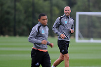 Swansea City's Mike van der Hoorn (R) during the Swansea City Training Session at The Fairwood Training Ground, Wales, UK. Tuesday 14th August 2018