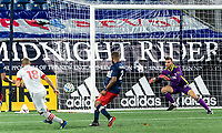 FOXBOROUGH, MA - OCTOBER 7: Matt Turner #30 of New England Revolution makes a save during a game between Toronto FC and New England Revolution at Gillette Stadium on October 7, 2020 in Foxborough, Massachusetts.