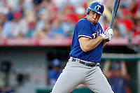 Mark Teixeira of the Texas Rangers during a game against the Los Angeles Angels in a 2007 MLB season game at Angel Stadium in Anaheim, California. (Larry Goren/Four Seam Images)