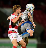 Lincoln City's Michael O'Connor vies for possession with Doncaster Rovers' Alfie May<br /> <br /> Photographer Chris Vaughan/CameraSport<br /> <br /> EFL Leasing.com Trophy - Northern Section - Group H - Doncaster Rovers v Lincoln City - Tuesday 3rd September 2019 - Keepmoat Stadium - Doncaster<br />  <br /> World Copyright © 2018 CameraSport. All rights reserved. 43 Linden Ave. Countesthorpe. Leicester. England. LE8 5PG - Tel: +44 (0) 116 277 4147 - admin@camerasport.com - www.camerasport.com