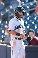 Peoria Javelinas right fielder Ian Miller (9), of the Seattle Mariners organization, walks towards the dugout after scoring a run during an Arizona Fall League game against the Glendale Desert Dogs at Peoria Sports Complex on October 22, 2018 in Peoria, Arizona. Glendale defeated Peoria 6-2. (Zachary Lucy/Four Seam Images)