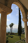 Israel, the Church of Beatitudes on the Mount of Beatitudes overlooking the Sea of Galilee