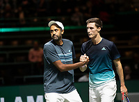 Rotterdam, The Netherlands, 14 Februari 2019, ABNAMRO World Tennis Tournament, Ahoy, quarter finals, doubles, Rajeev Ram (USA) / Joe Salisbury (GBR), <br /> Photo: www.tennisimages.com/Henk Koster
