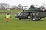 during the landing of the Army Helicopter with a patient from Carlingford  at the O'Raghallaigh's on Thursday 19th March 2015.<br /> Picture:  Thos Caffrey / www.newsfile.ie