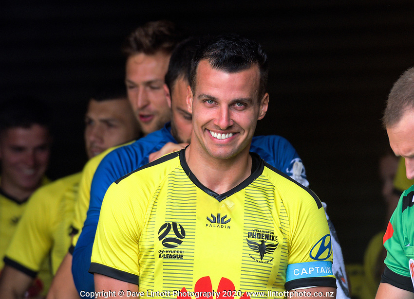 Phoenix captain Steven Taylor prepares to leads his team out during the ISPS Handa Premiership football match between Wellington Phoenix Reserves and Southern United at Sky Stadium in Wellington, New Zealand on Saturday, 11 January 2020. Photo: Dave Lintott / lintottphoto.co.nz
