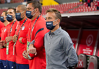 , MEXICO - : Jason Kreis head coach of the U-23 USMNT during the National anthem during a game between  and undefined at  on ,  in , Mexico.