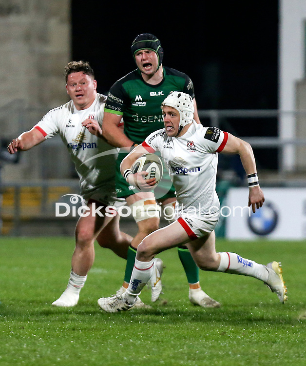 Friday 23rd April 2021; Michael Lowry finds a gap during the first round of the Guinness PRO14 Rainbow Cup between Ulster Rugby and Connacht Rugby at Kingspan Stadium, Ravenhill Park, Belfast, Northern Ireland. Photo by John Dickson/Dicksondigital