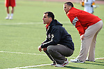 Baltimore, MD - March 3: Stags Head coach Andy Copelan along side with Tony Vallance  during the Fairfield v UMBC mens lacrosse game at UMBC Stadium on March 3, 2012 in Baltimore, MD.