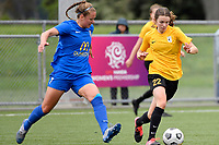 Helena Errington of Capital competes for the ball with Renee Bacon of Southern during the Handa Women's Premiership - Capital Football v Southern United at Petone Memorial Park, Wellington on Saturday 7 November 2020.<br /> Copyright photo: Masanori Udagawa /  www.photosport.nz