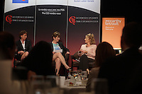 (Left to right) Dominique Anglade, Isabelle Courville, Madeleine Chenette, Marie-Line Beauchamps, Isabelle Hudon participate in a  panel about Leadership hosted by the Canadian Club of Montreal.<br /> <br /> Photo : Agence Quebec Presse - Pierre Roussel