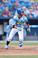 Asheville Hippies shortstop Carlos Herrera (2) runs to first base during a game against the Greenville Drive at McCormick Field on June 29, 2017 in Asheville, North Carolina. The Drive defeated the Tourists 9-6. (Tony Farlow/Four Seam Images)